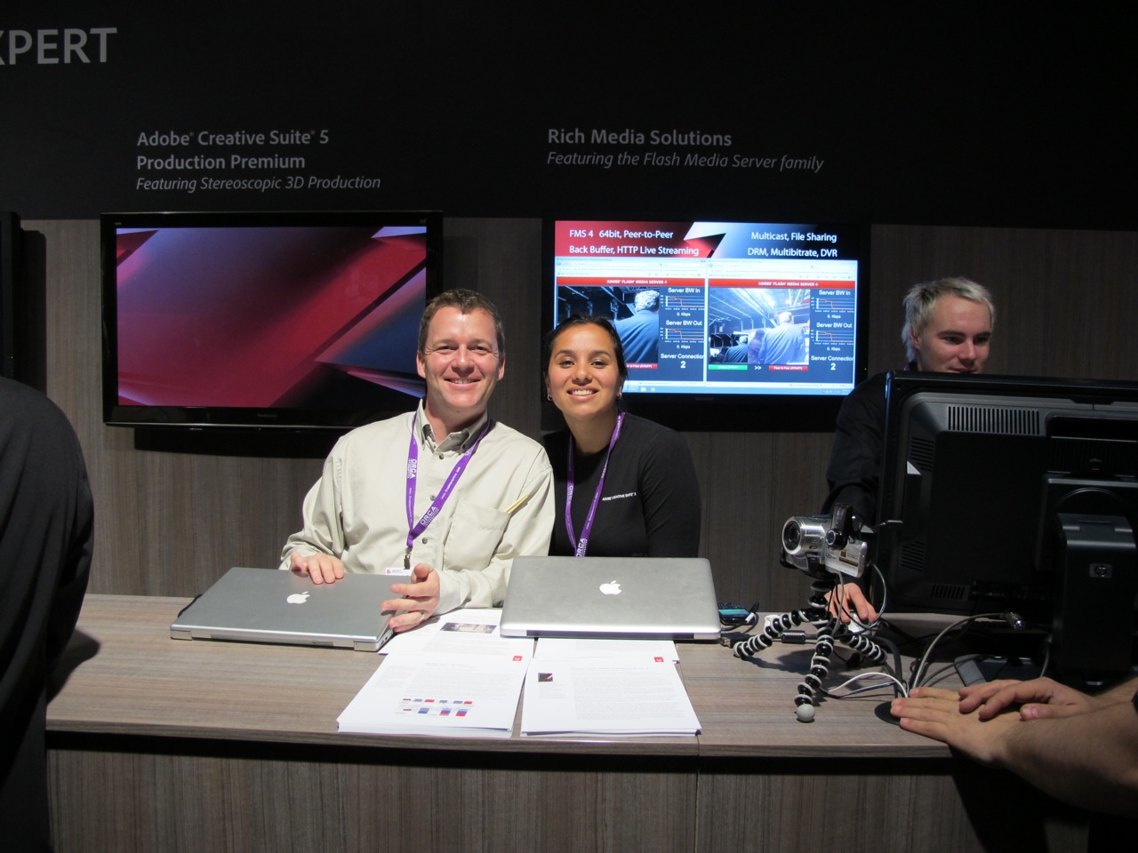 Adobe's Kevin Towes and Desiree Motamedi, looking remarkable chipper on the last day of IBC.
