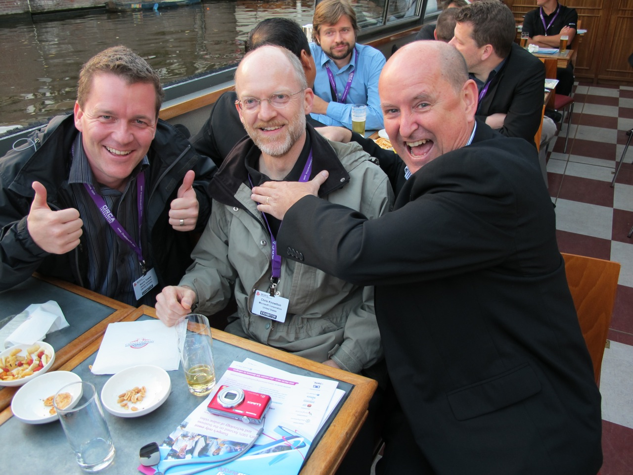 Well, at least they can agree on what's being served. Adobe's Kevin Towes, Microsoft's Chris Knowlton, and RealNetworks' Martin Schwartz on the Streaming Media-sponsored cruise.