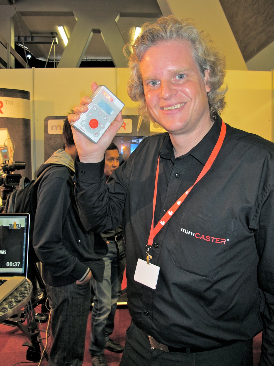 TV1.EU's Michael Westphal showing off the brand-new miniCASTER