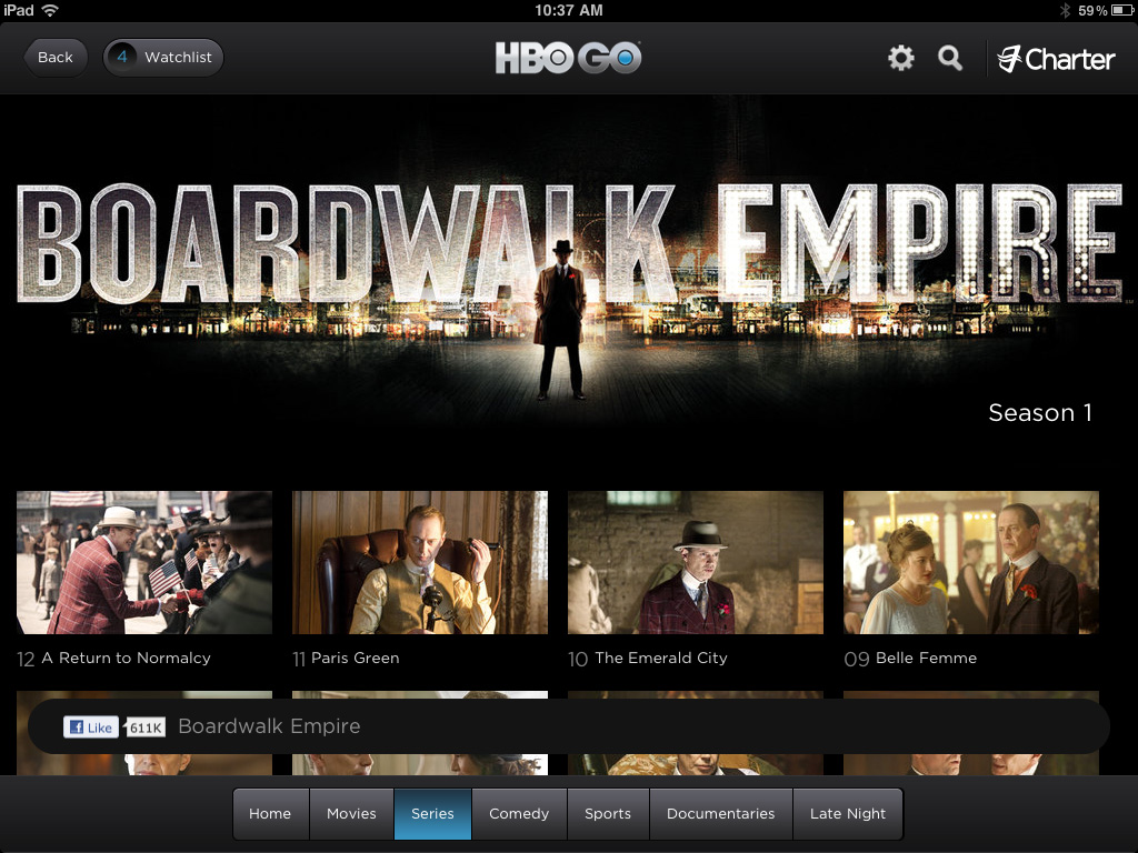 HBO Go Series Page