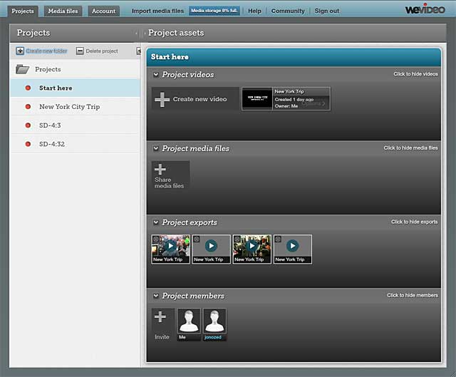 WeVideo Dashboard