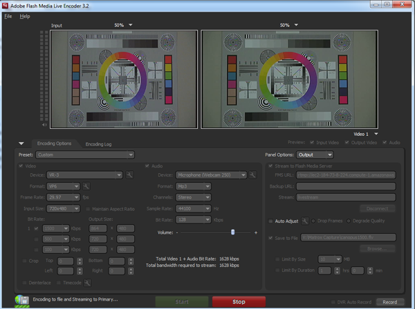 Widescreen video output with Adobe Flash Live Media Encoder