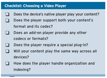 Video Player Checklist