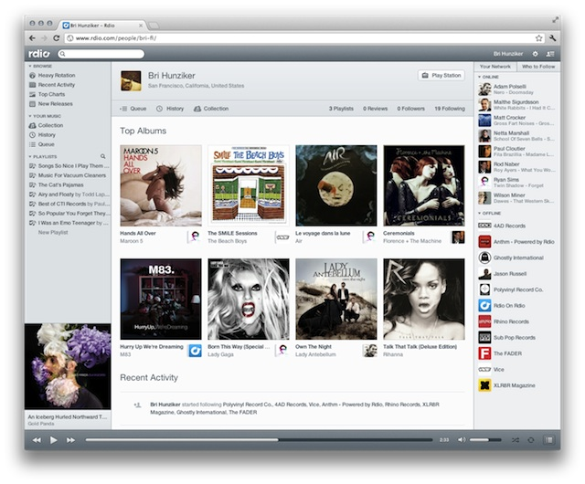 Rdio New Look