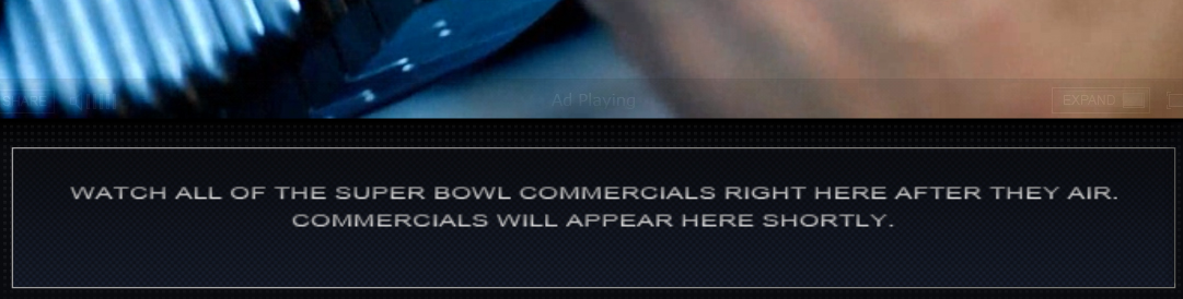 Super Bowl Ads Not Streamed