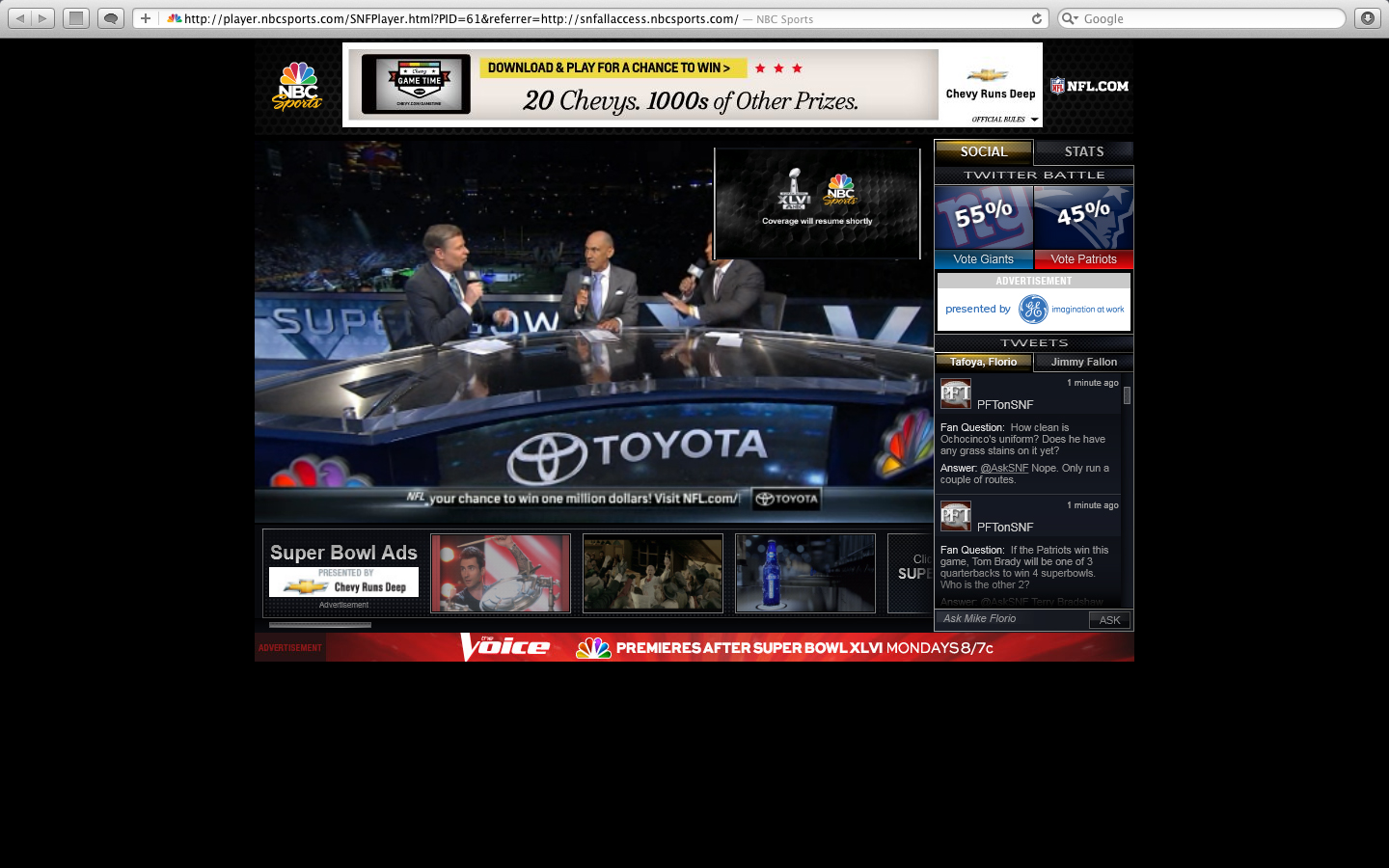 Super Bowl Streaming Player Clutter