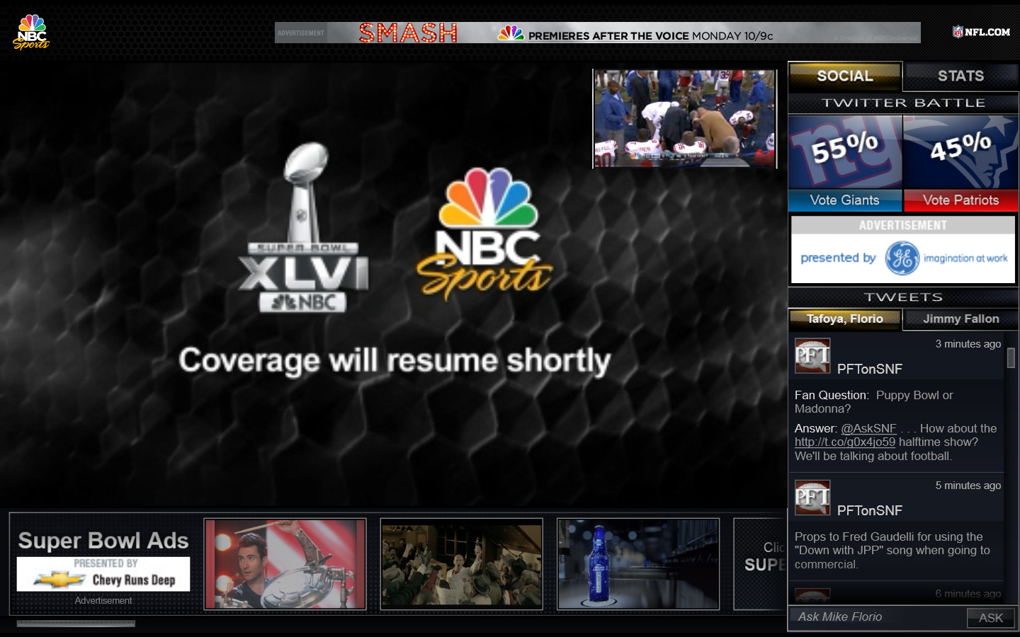 Super Bowl Coverage Will Resume Shortly