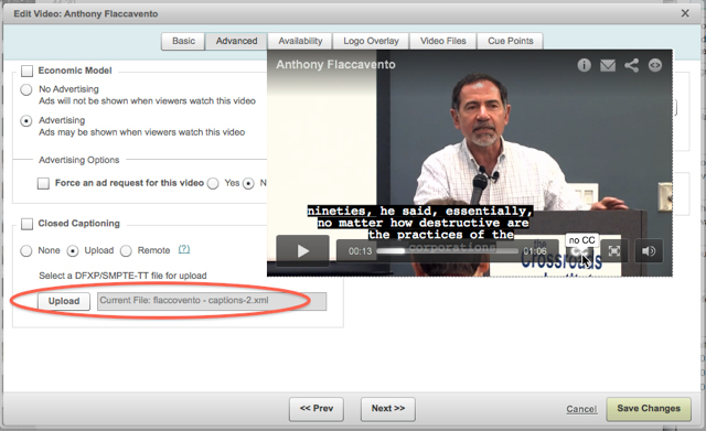 Captioning in Brightcove: The player is superimposed over the video properties control where you upload the caption file.